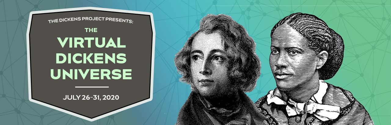 The Virtual Dickens Universe banner image featuring portrait etchings of Charles Dickens and Frances E. W. Harper